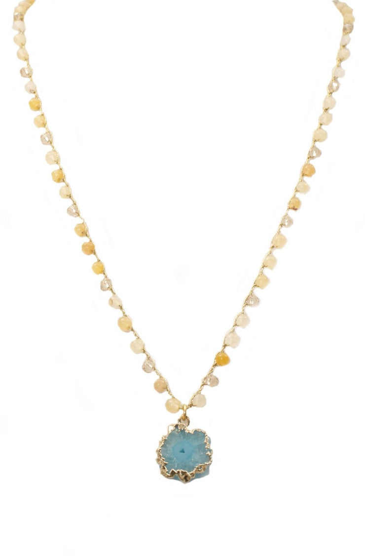 """BOHEMIAN"" Honey Jade Beaded Solar Raw Quartz Necklace - 22"""