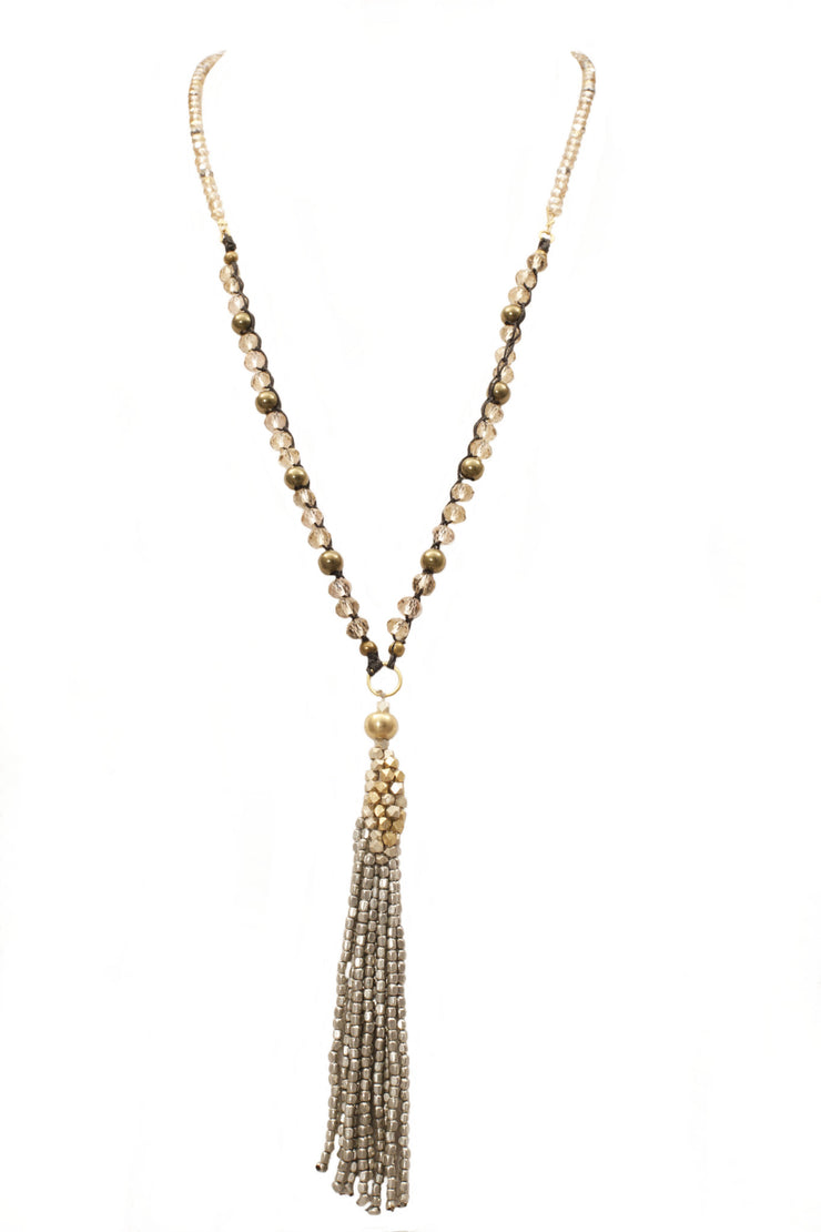 """BOHEMIAN"" Long Tassel Fringe Layering Necklace- 32"""
