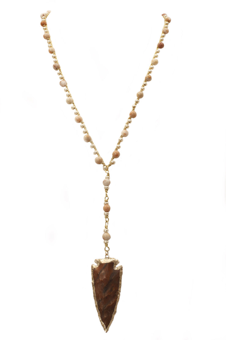 """TRAVELER"" Jasper Beaded Stone Arrowhead Long Y-Necklace - 34"""