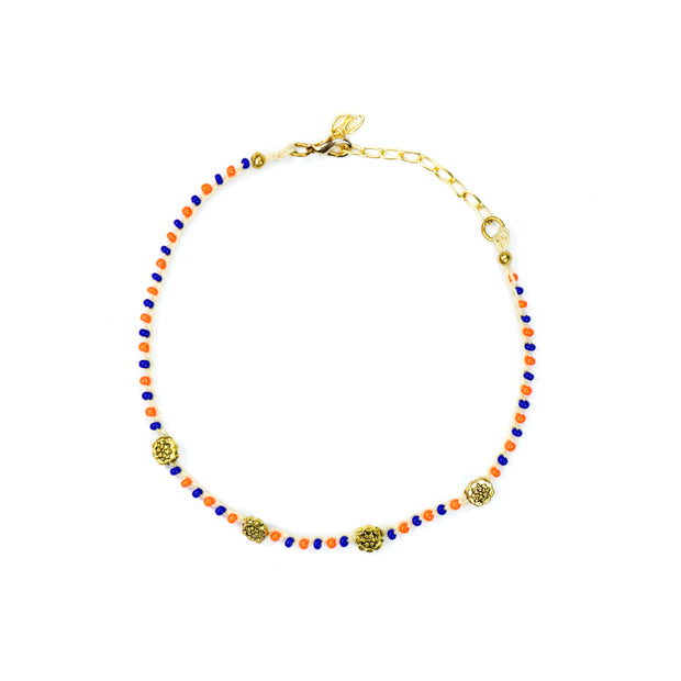 """CHARMED"" Blue and Orange Gem Beaded Floral Convertible Choker Necklace/Bracelet"