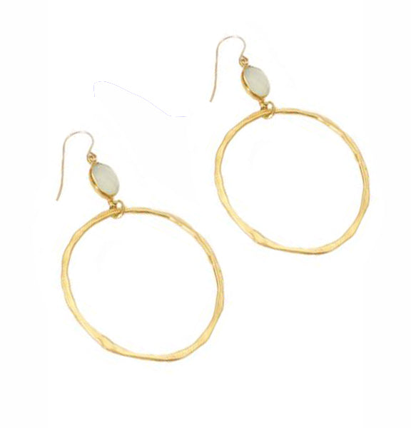 """BOHEMIAN"" Chloe Oval Moonstone Bezel Round Hoop Drop Earrings"