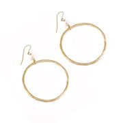 """BOHEMIAN"" Freshwater Pearl Bead Open Hoop Drop Earrings"