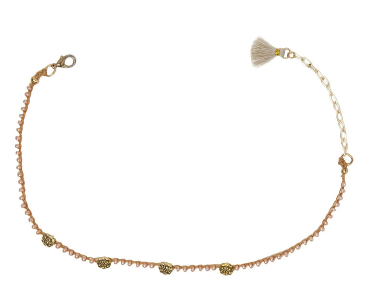 """CHARMED"" Sand Lily Blush Pearl Four Petal Convertible Choker Necklace/ Bracelet"