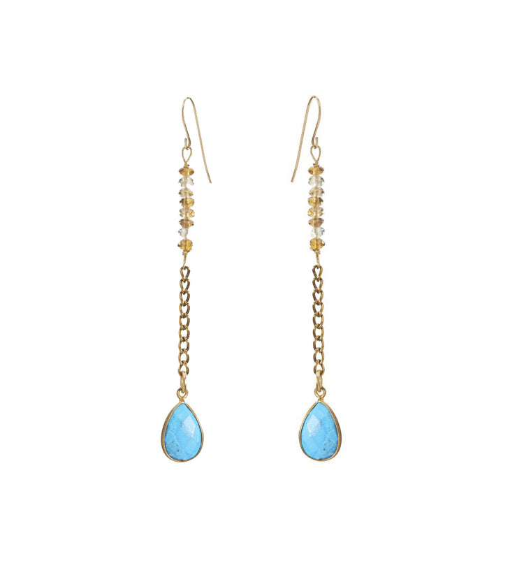 """Bohemian"" Beaded Chain Turquoise Teardrop Earring"
