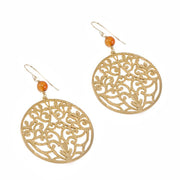 """BOHEMIAN"" Carnelian Bead Open Round Filigree Statement Earrings"