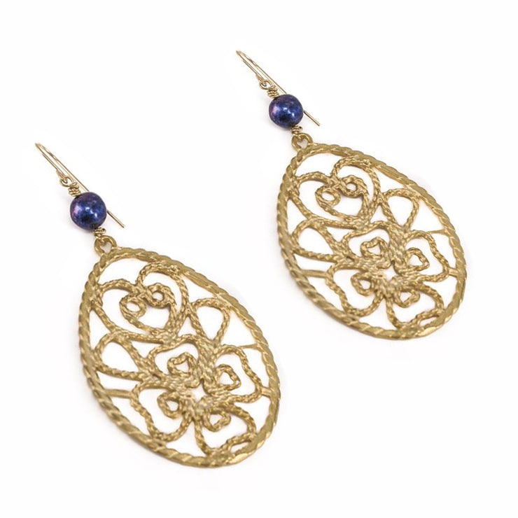 """BOHEMIAN"" Cobalt Pearl Statement Filigree Floral Teardrop Earrings"