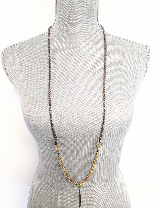 """BOHEMIAN"" Textured Feather Crochet Chain Layering Necklace - 39"""