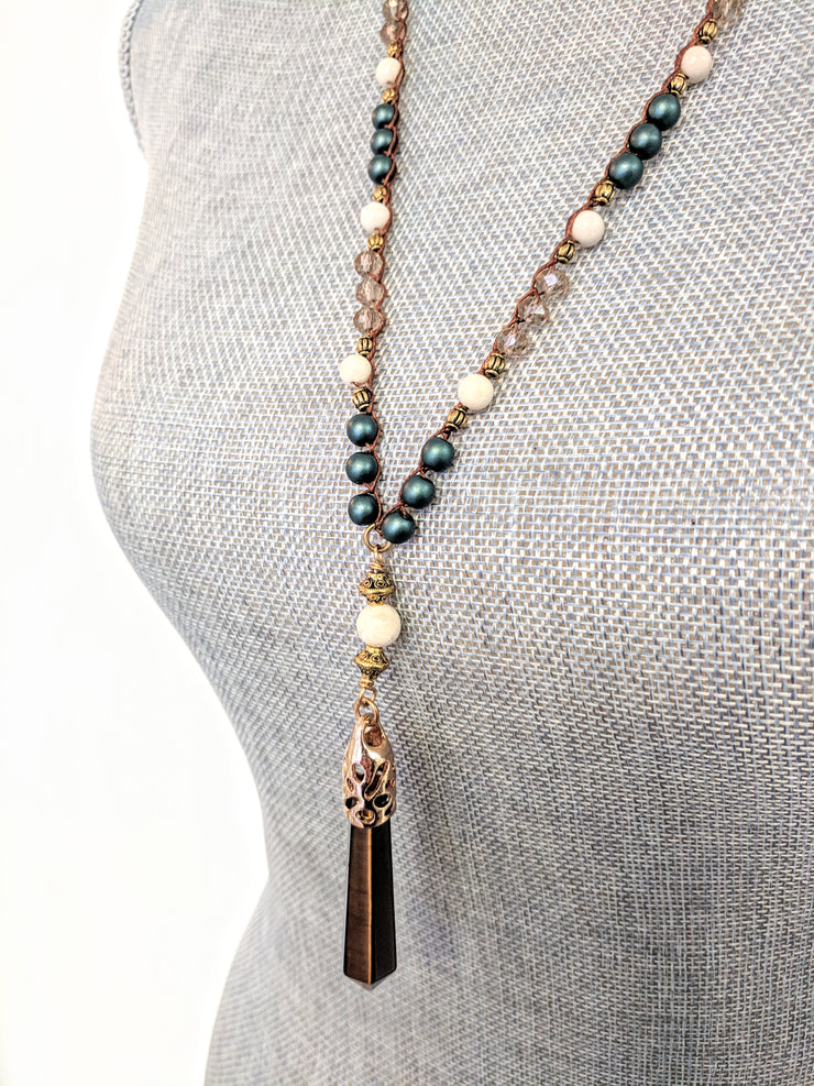 """BOHEMIAN"" Tigers Eye, White Agate and Tahitian Crystal Pearl Crochet Rosary Y Necklace"