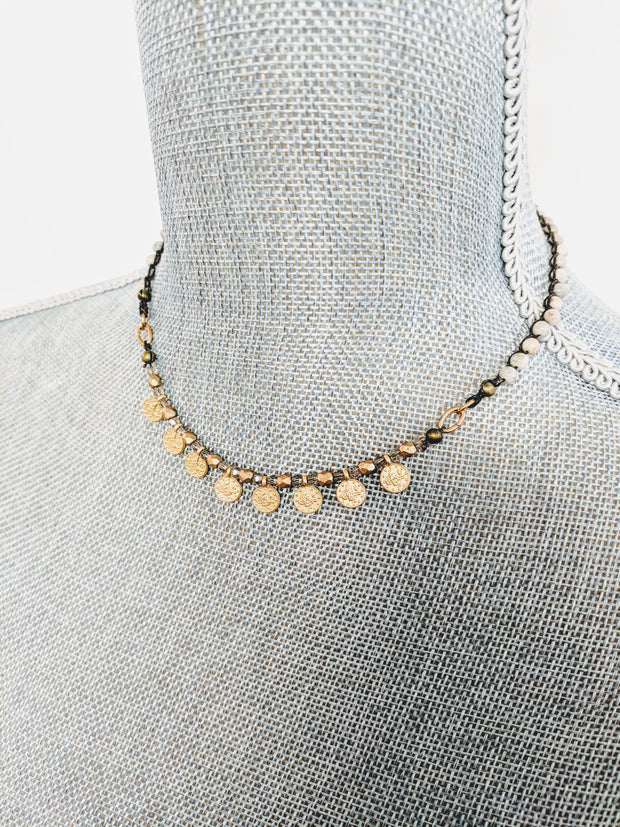 """TRAVELER"" Old World Coin Drops Rutilated Quartz Collar Necklace"
