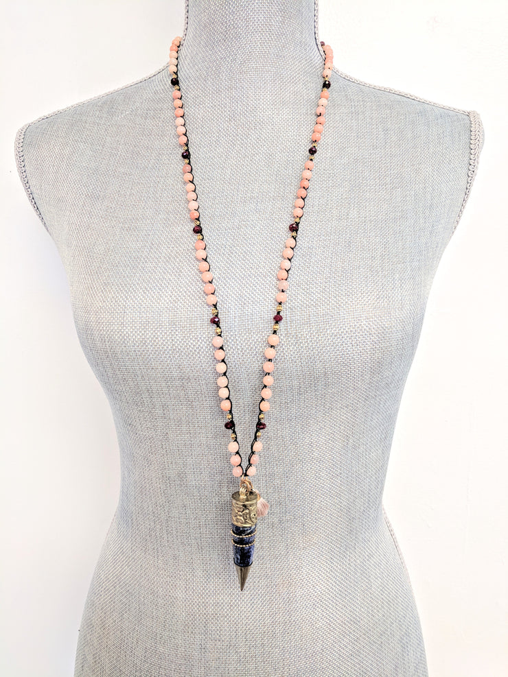 """BOHEMIAN"" Pink Opal, Red Jade and Lapis Lazuli Repousse Horn Long Necklace"