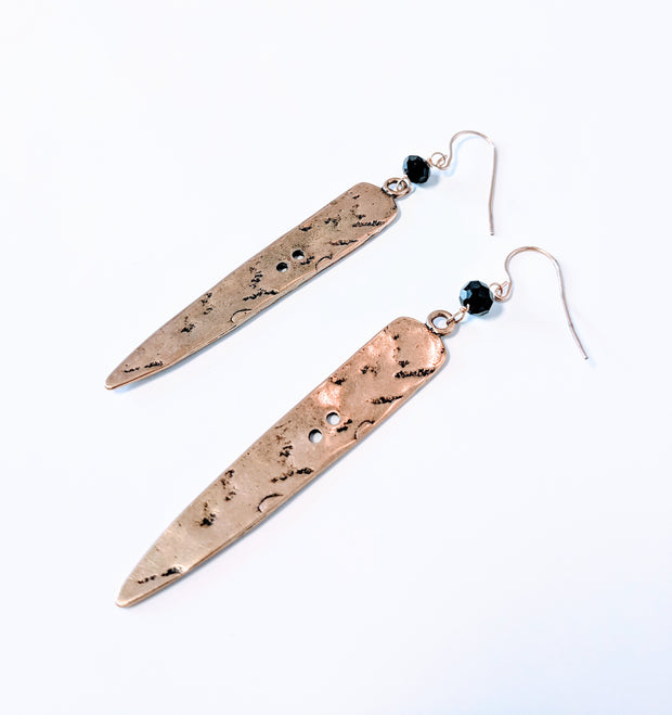 """Traveler"" Flattened Textured Arrow Drop Earrings"