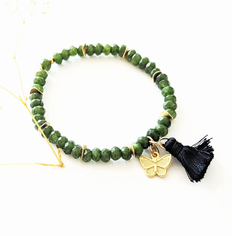 """Charmed"" Golden Butterfly, Black Tassel and Aventurine Stretch Charm Bracelet"