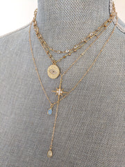 """Charmed"" Protection Eye CZ and Quartz Double Strand Necklace"