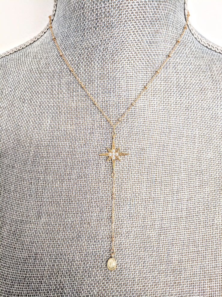"""SHIMMER"" Star CZ and Citrine Gold Chain Y-Necklace"
