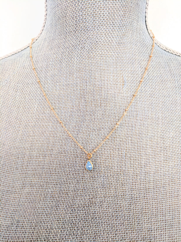 """SHIMMER"" Dance in The Rain Stone Teardrop Pendant Necklace"