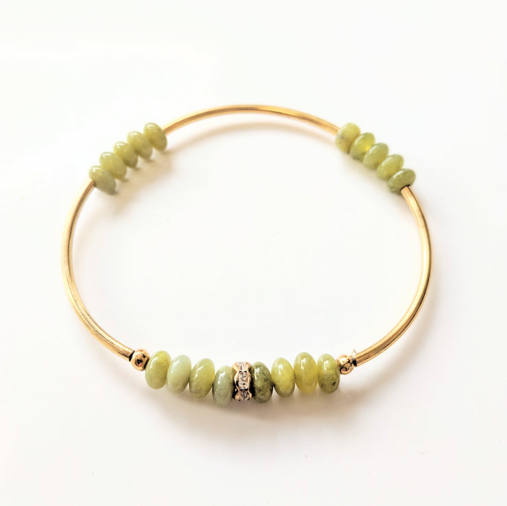 """Charmed"" Jade CZ Golden Curves Stretch Bracelet"