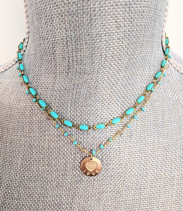 """Charmed"" Turquoise and Love Pendant Double Strand Necklace"