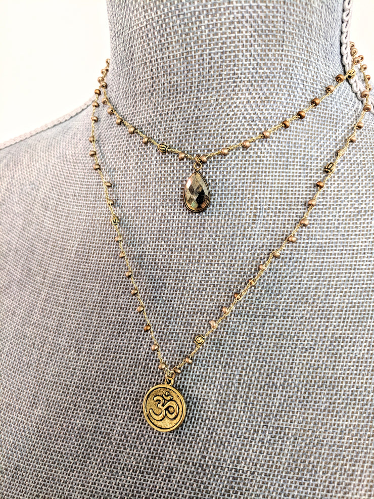 """Charmed"" Om and Pyrite Double Chain Layer Necklace"