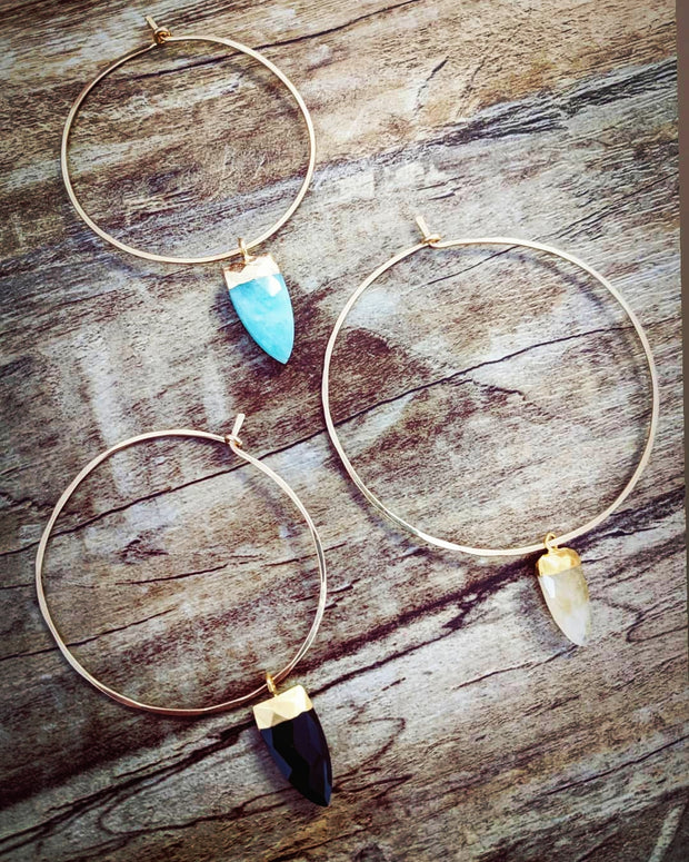 """Bohemian"" Collection Signature Gemstone Pointe Cut Drop Hoop Earrings"