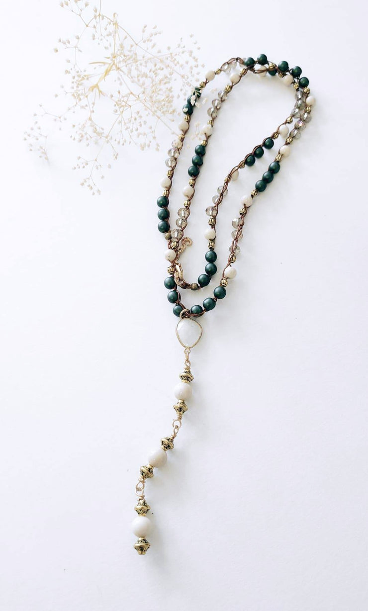 """Bohemian"" Healing Moonstone Crystal, Snow Agate and Blue Pearl Y Necklace - 39"""