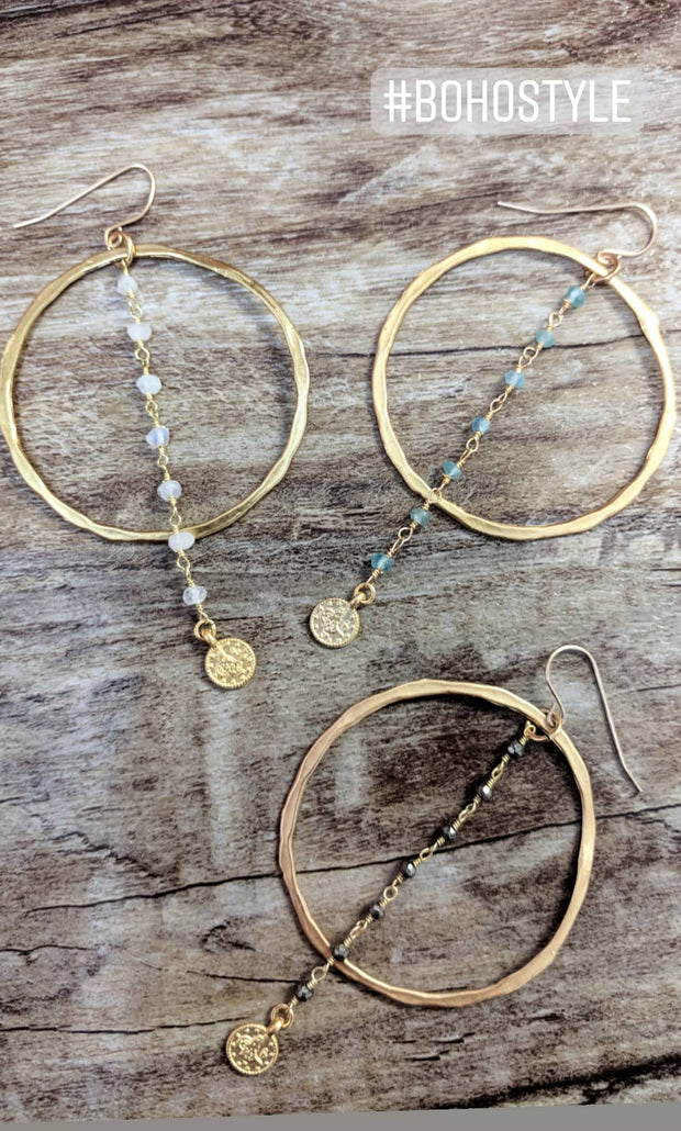 """BOHEMIAN"" Open Hoop Gemstone Chain Drop Boho Earrings"
