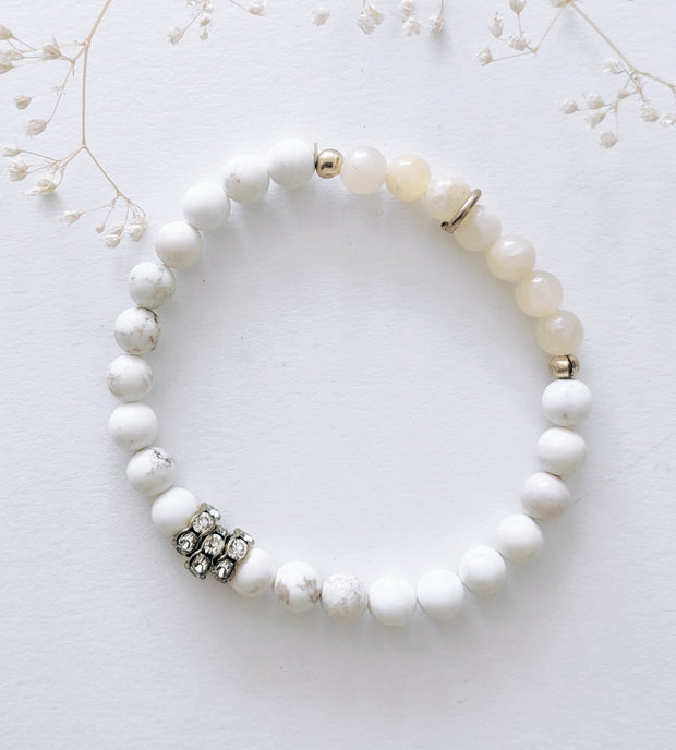"""Bohemian"" Collection Snow Agate and Aragonite Crystal Beaded Stretch Bracelet"