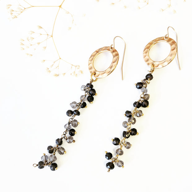 """BOHEMIAN"" Hammered Golden Disc Smokey Quartz Cascade Earrings"