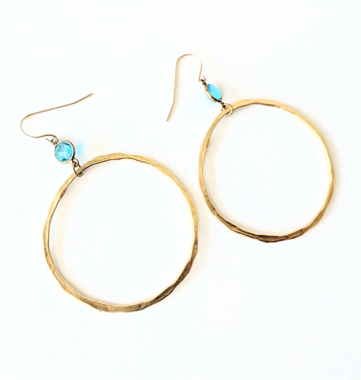 """BOHEMIAN"" Chalcedony Bezel Open Circle Drop Earrings"