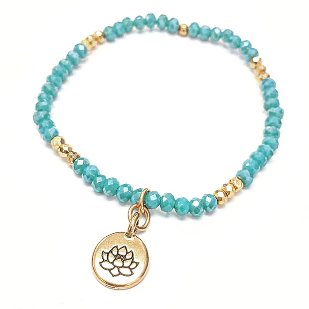 """MANTRA"" Lotus Charm Amazonite and Gold Bead Stretch Bracelet"