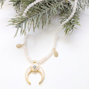 """SHIMMER"" Pavé CZ Drops and Pearl Enamel Horn Evil Eye Pendants Collar Gemstone Necklace"