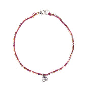 """MANTRA"" Cherry Pop Seed Bead Choker with Om Pendant Necklace/Wrap Bracelet"