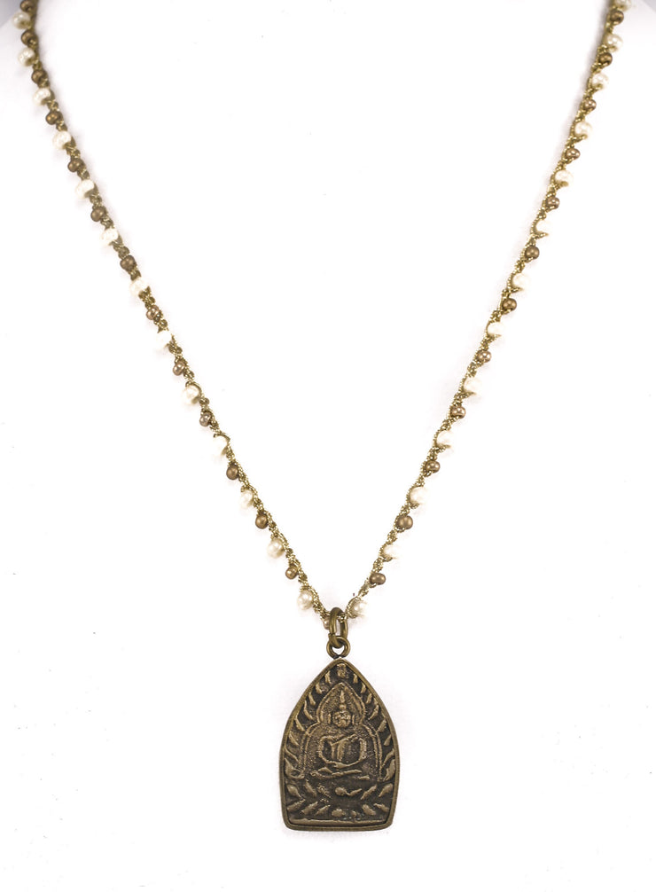 """MANTRA""  Rustic Buddha Pendant Necklace - 35"""