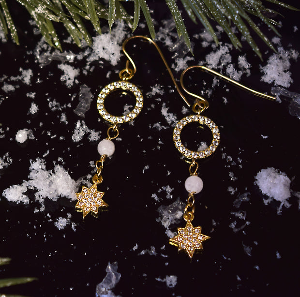 """SHIMMER"" Starry Night Pavé CZ and Snow Quartz Drop Earrings"