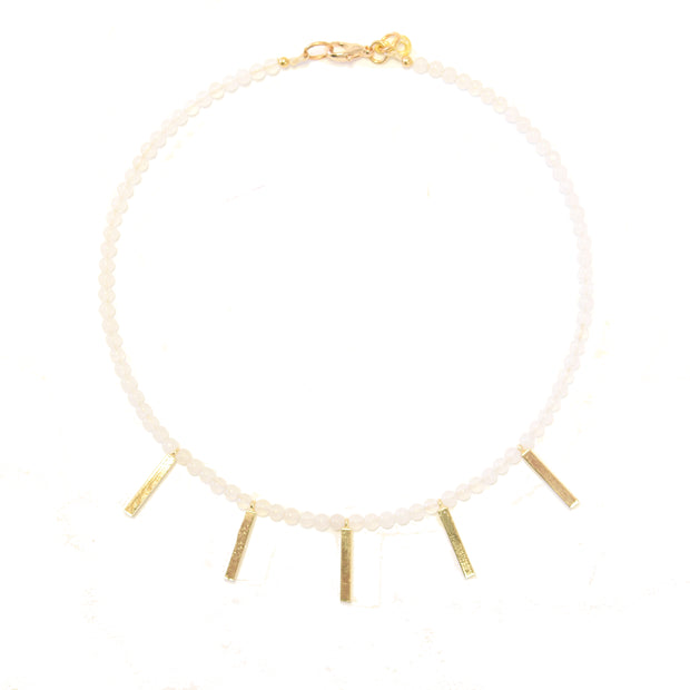 """SHIMMER"" Golden Bar Drops Gemstone Collar Necklace"