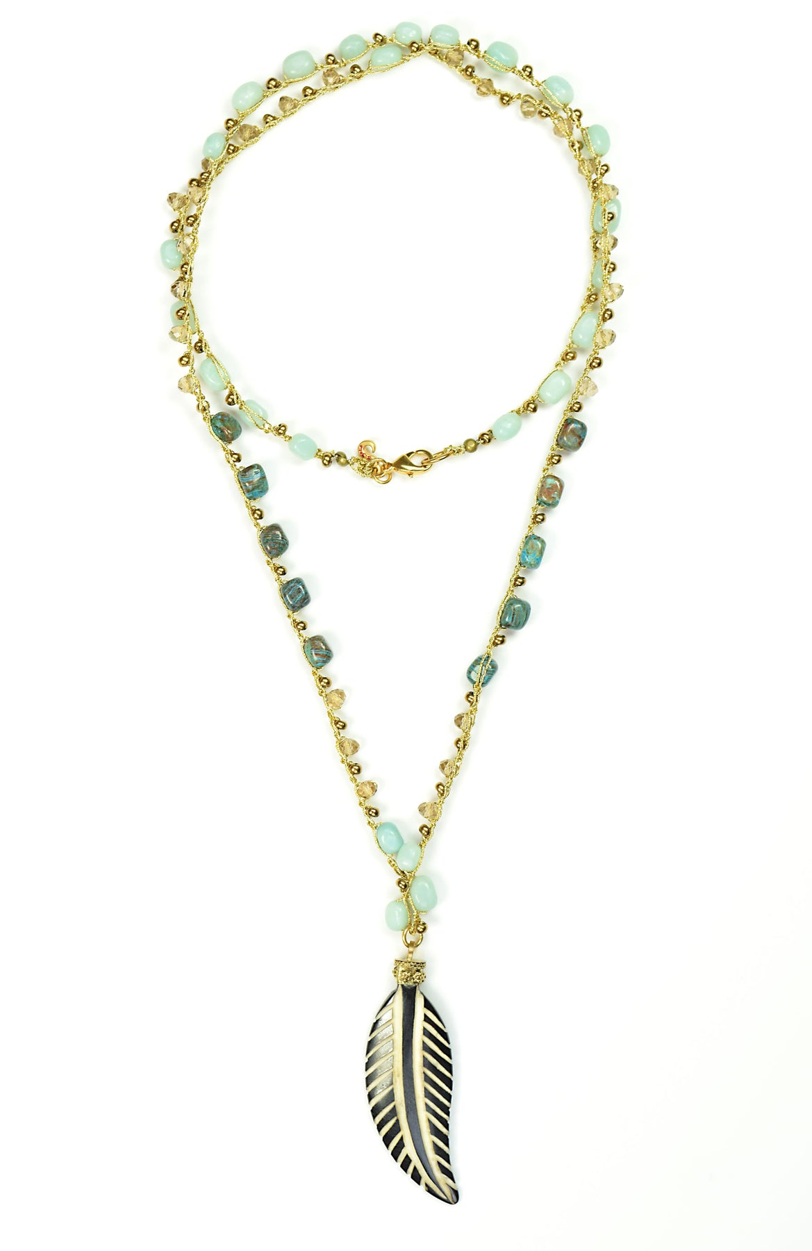 Bohemian Amazonite And Turquoise Carved Feather Pendant Necklace 36 Sigalie Jewelry