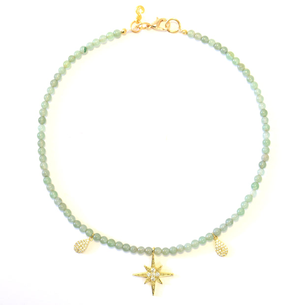 """SHIMMER"" Pavé CZ Northern Star Collar Gemstone Necklace"