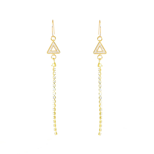 """SHIMMER"" Open Pavé CZ Triangle with Zirconia Station Chain Drop Earrings"