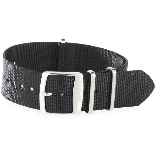22mm Black Nylon Watch Strap by Arctos-Elite® Germany with Surgical Steel Buckle.