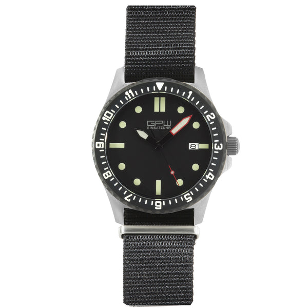 German Military Titanium Automatic Watch. GPW Date. 200M W/R. Sapphire Crystal. Black Nylon Strap.