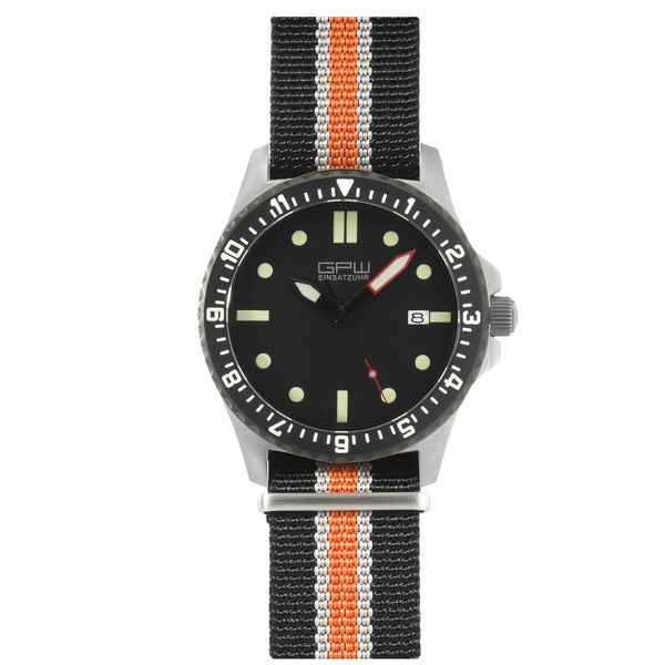 German Military Titanium Automatic Watch. GPW Date. 200M W/R. Sapphire Crystal. Black White & Orange Nylon Strap.