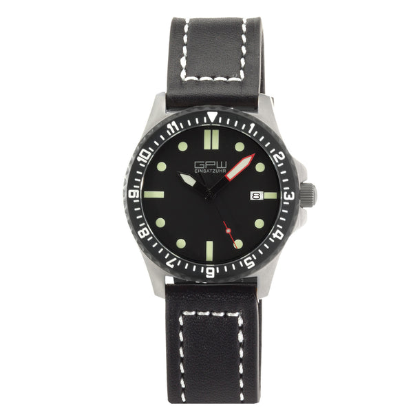 German Military Titanium Automatic Watch. GPW Date. 200M W/R. Sapphire Crystal. Black Leatherstrap