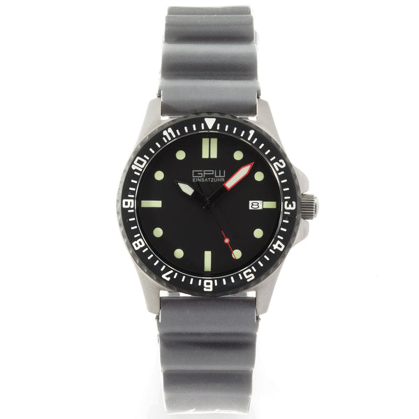 German Military Titanium Automatic Watch. GPW Date. 200M W/R. Sapphire Crystal. Grey NATO Rubber Strap.