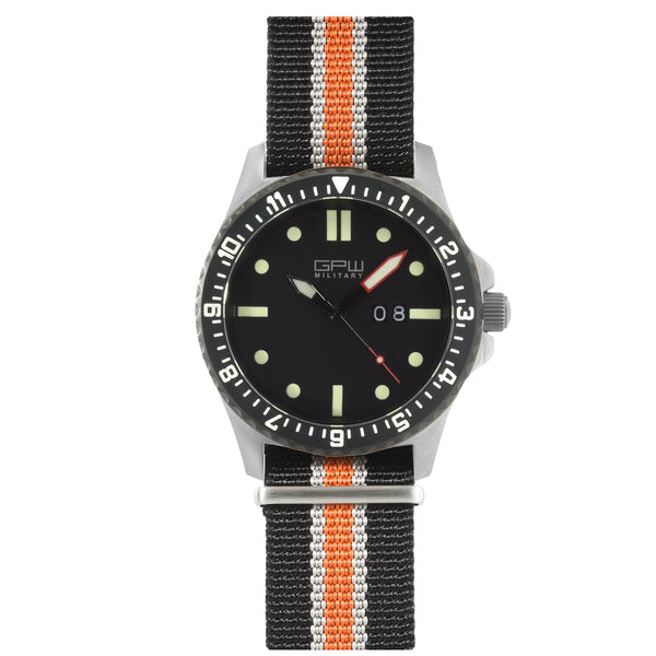 German Military Titanium Watch. GPW Big Date. 200M W/R. Sapphire Crystal. Black White & Orange Nylon Strap.