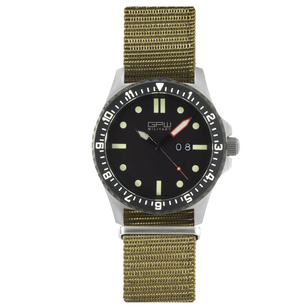 German Military Titanium Watch. GPW Big Date. 200M W/R. Sapphire Crystal. Olive Nylon Strap.
