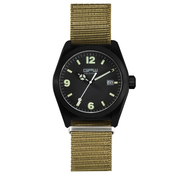 German Military Black Titanium Watch. GPW Fieldwatch 'B' Automatic. 200M W/R. Sapphire Crystal. Green Nylon Strap.