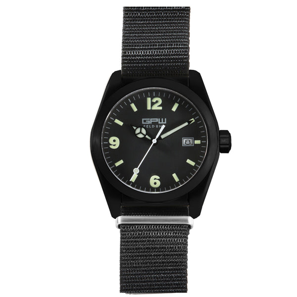 German Military Black Titanium Watch. GPW Fieldwatch 'B' Automatic. 200M W/R. Sapphire Crystal. Black Nylon Strap.