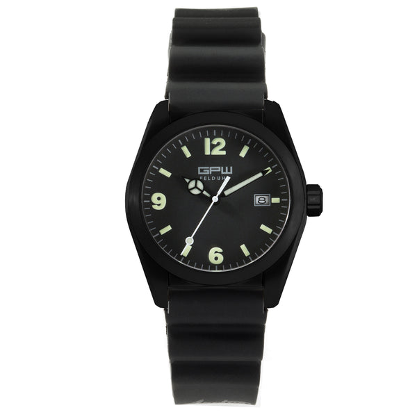 German Military Black Titanium Watch. GPW Fieldwatch 'B' Automatic. 200M W/R. Sapphire Crystal. Black Field Rubber Strap.
