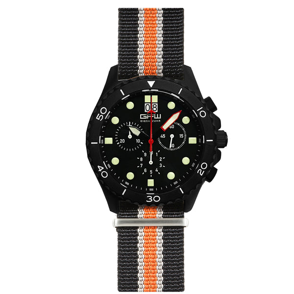 German Military Black Titanium Chronograph. GPW Mission Chrono. Big Date. 10 BAR W/R. Sapphire Crystal. Black, White & Orange Nylon Strap.