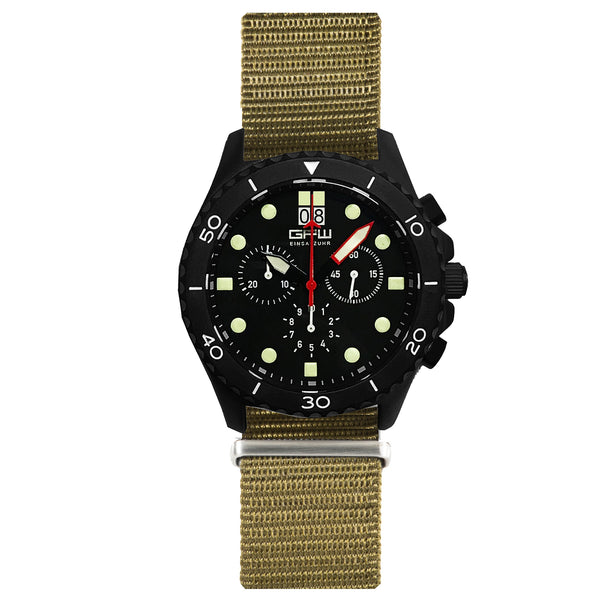 German Military Black Titanium Chronograph. GPW Mission Chrono. Big Date. 10 BAR W/R. Sapphire Crystal. Green Nylon Strap.