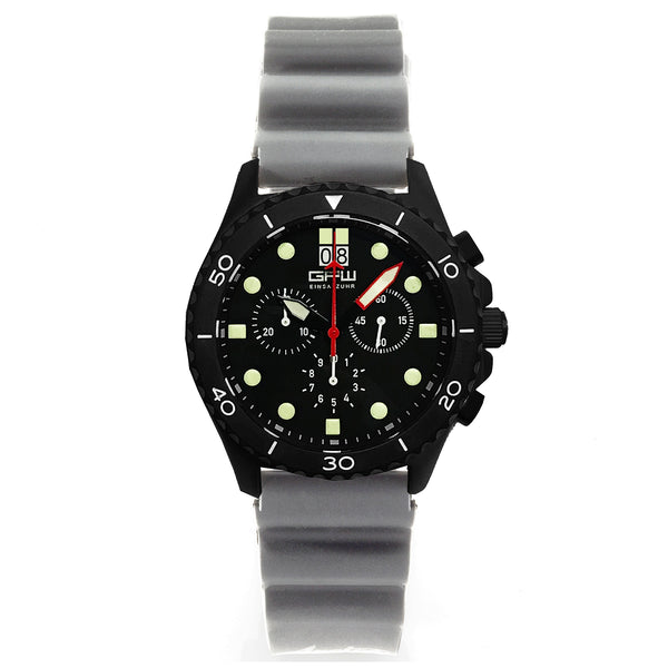 German Military Black Titanium Chronograph. GPW Mission Chrono. Big Date. 10 BAR W/R. Sapphire Crystal. Grey Field Rubber Strap.